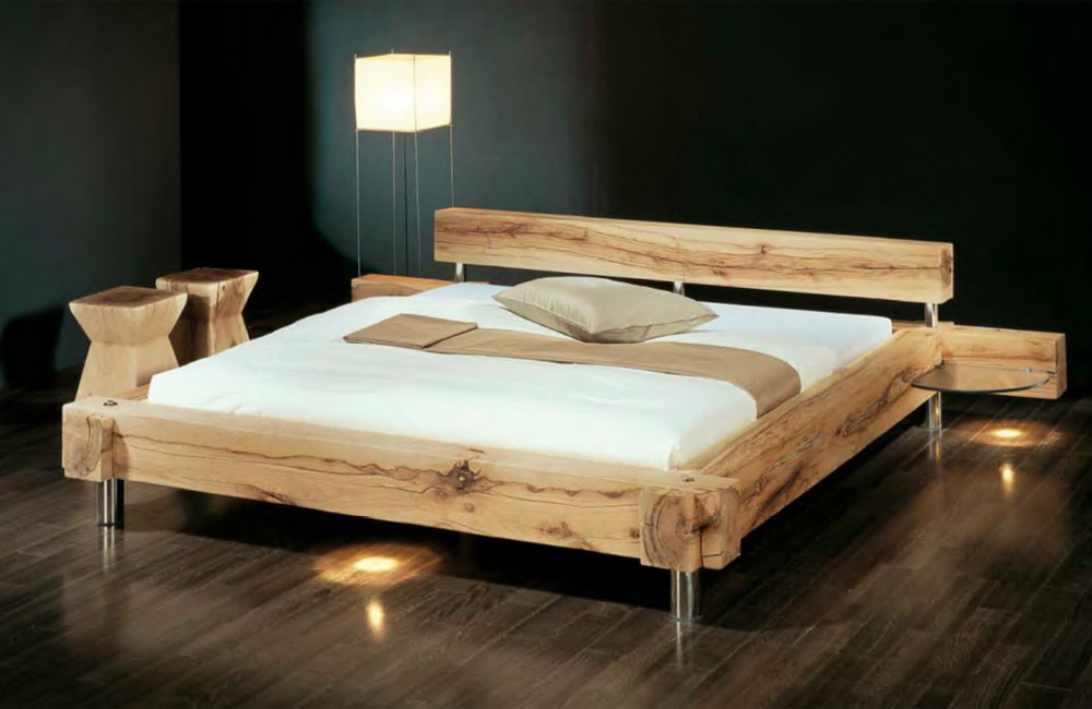 bett aus holz mit gepolstertem kopfteil. Black Bedroom Furniture Sets. Home Design Ideas